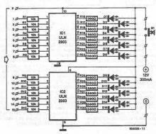 schema electronica Detector de lichide cu ULN2803 ULN2003