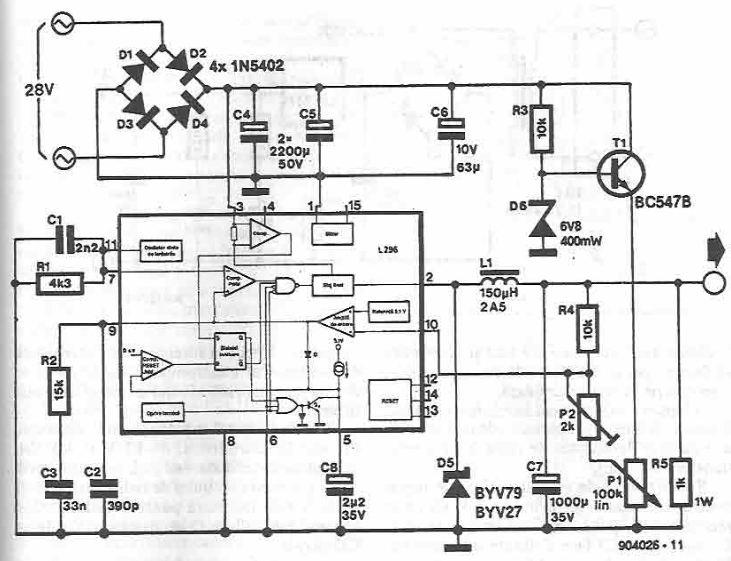 schema electronica Sursa reglabila 0-30 volti cu L296