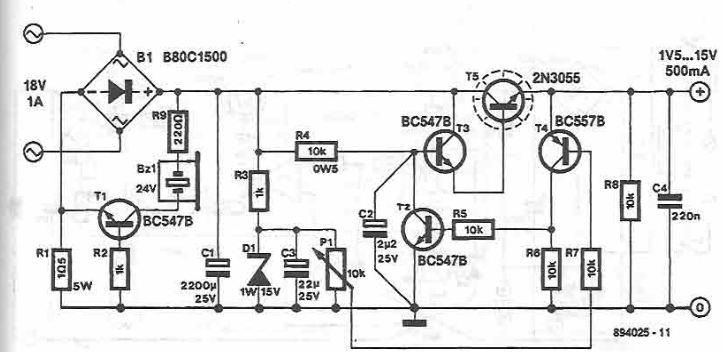 schema Sursa de tensiune reglabila 1.5 15 volti 500mA
