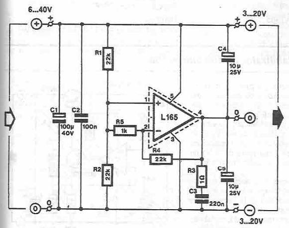 schema Sursa simetrica 3 20 volti cu L165
