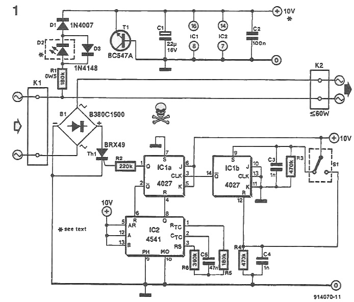 schema Temporizator pentru veioza, becuri