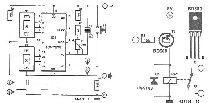 schema Temporizator cu ICM7250