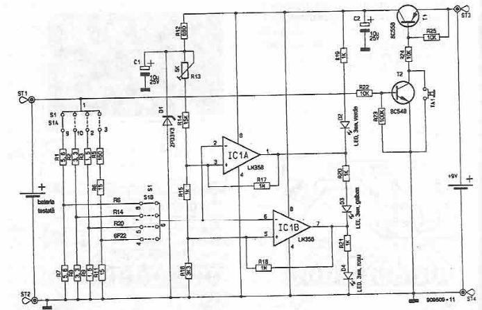 Schema electronica tester pentru baterii
