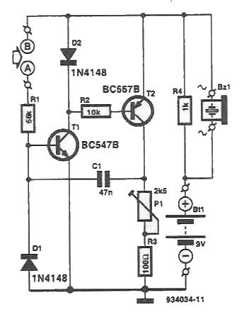 schema electronica tester continuitate cu tranzistori