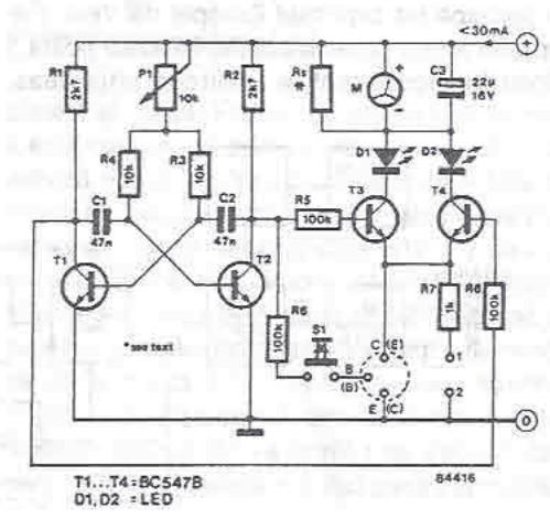 schema electronica Tester pentru tranzistoare