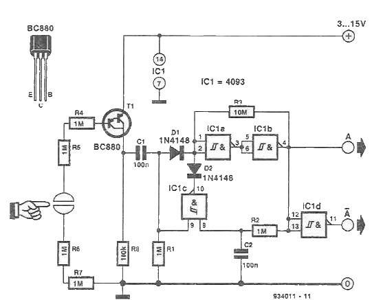 Schema comutator senzorial trigger Schmitt