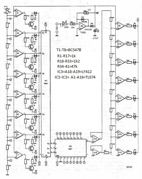 Schema VU-metru cu LED-uri autoscalabil