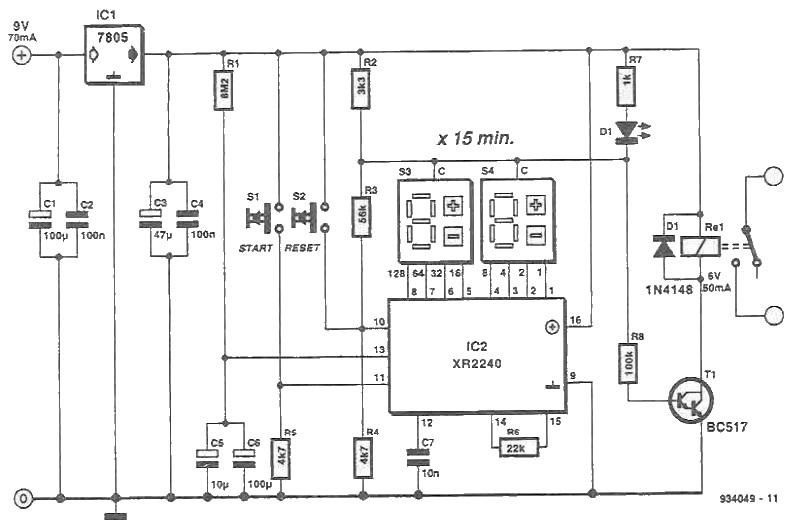 Circuit de temporizare cu XR2240 schema electronica