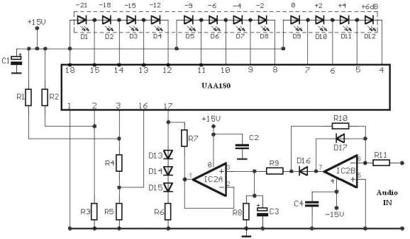 UAA180 LED driver audio level meter schema electronica