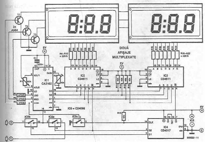 Schema ampermetru voltmetru de panou cu CMOS