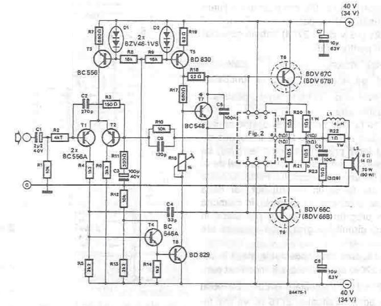 schema electronica Amplificator audio 70 - 90 watts cu tranzistori