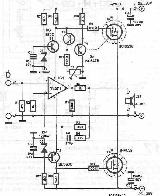 Schema amplificator audio de pputere cu MOSFET