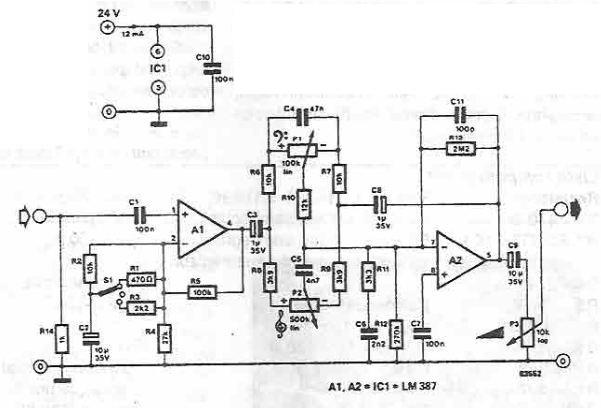 schema electronica Amplificator de microfon cu corector de ton