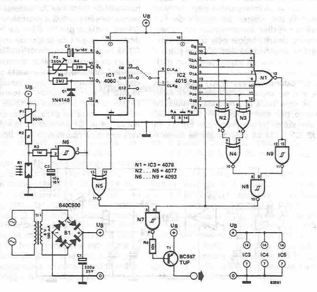 Schema electronica automat pentru aprindere lumini
