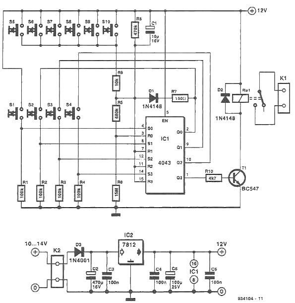 Cifru electronic cu IC 4043