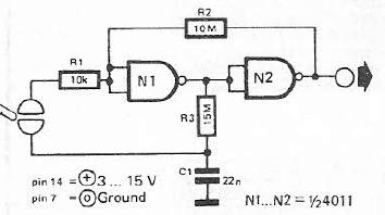 Schema electronica Comutator cu senzor de atingere