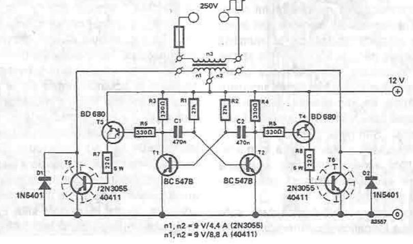 schrema electronica Convertor 12 250v cu tranzistori