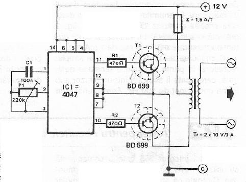Schema electronica convertor 12 volti dc 220 volti ac