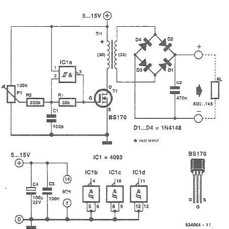 schema Convertor de mica putere variabil