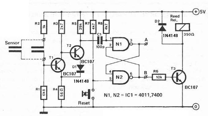 schema electronica Circuit detector de umiditate
