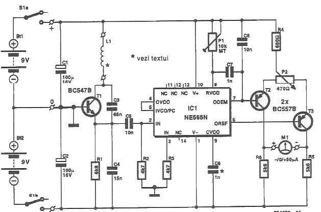 Detector de metale cu NE565