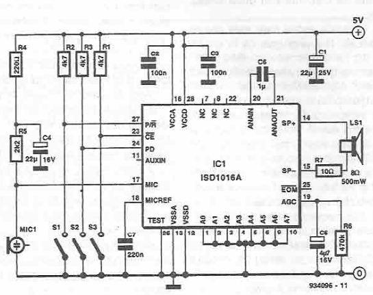 Circuit memorare redare semnal audio ISD1020