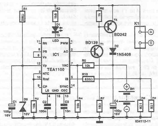 schema Incarcator NiMh NiCd cu TEA1100