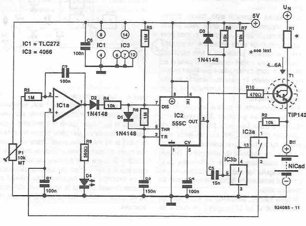 schema electronica Incarcator rapid pentru acumulatoare NiCd