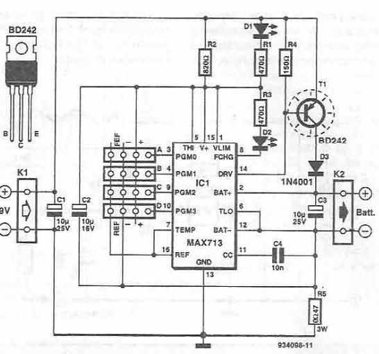 Schema incarcator rapid cu MAX712, MAX713