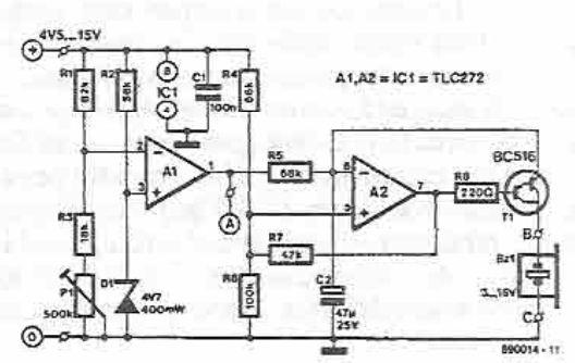 Schema circuit indicator de baterie descarcata