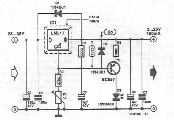Indicator de scurtcircuit pentru stabilizator