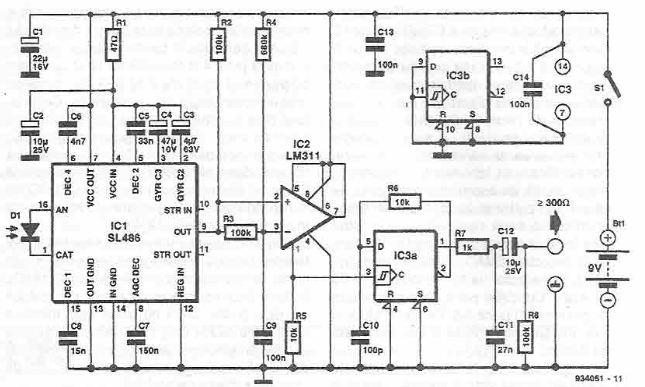 schema Circuit receptor in infrarosu pentru semnal audio