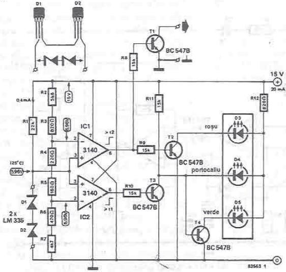schema electronica Indicator temperatura radiatoare