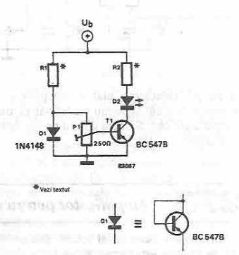 schema Indicator de temperatura cu dioda