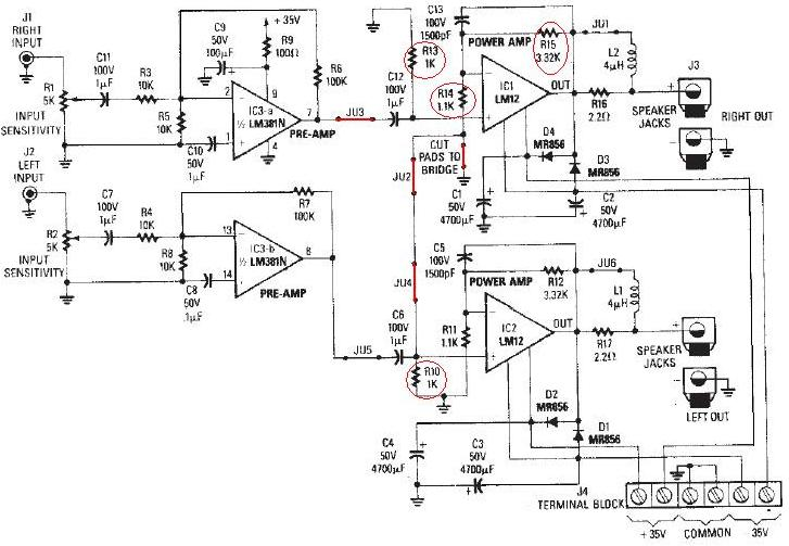 Schema amplificator 100 watts cu LM12