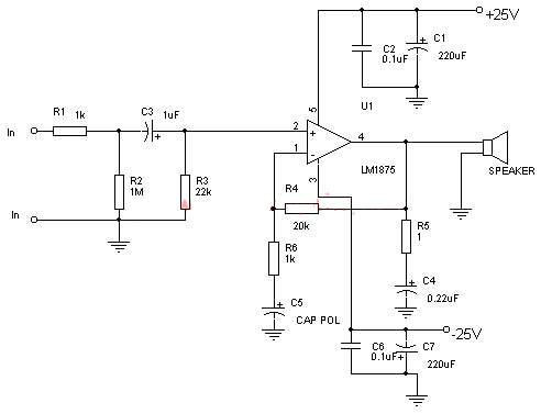 Schema amplificator LM1875