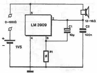 Schema electronica Tester de continuitate cu LM3909