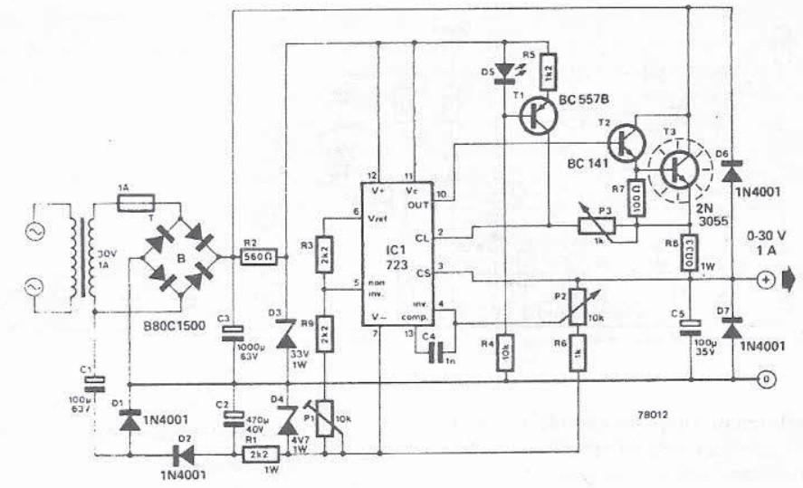 schema electronica Sursa de alimentare reglabila 0-30V cu LM723