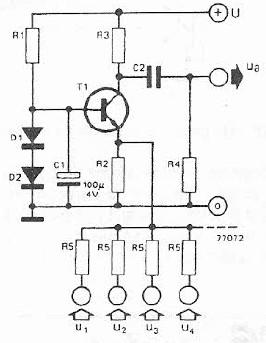 schema electronica Mixer audio cu tranzistor si componente pasive