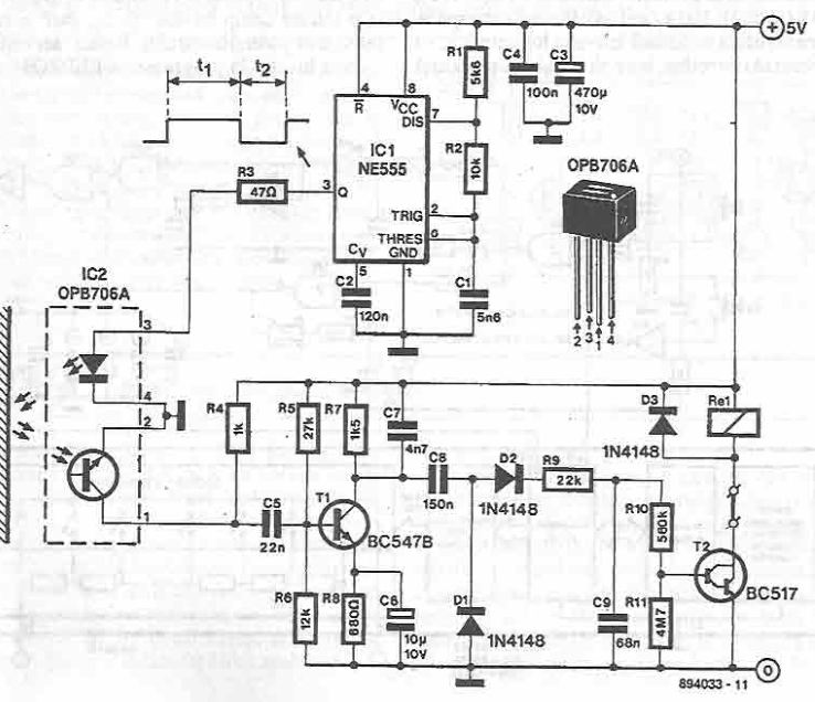 Circuit optocuplor rezistent la lumina incidenta cu 555 timer