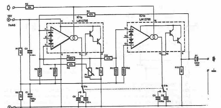 Schema electronica oscilator sinusoidal comandat in tensiune