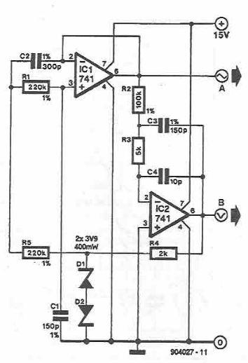 Schema electronic oscilator sinusoidal