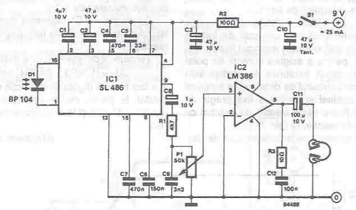 schema electronica Receptor audio cu infrarosu