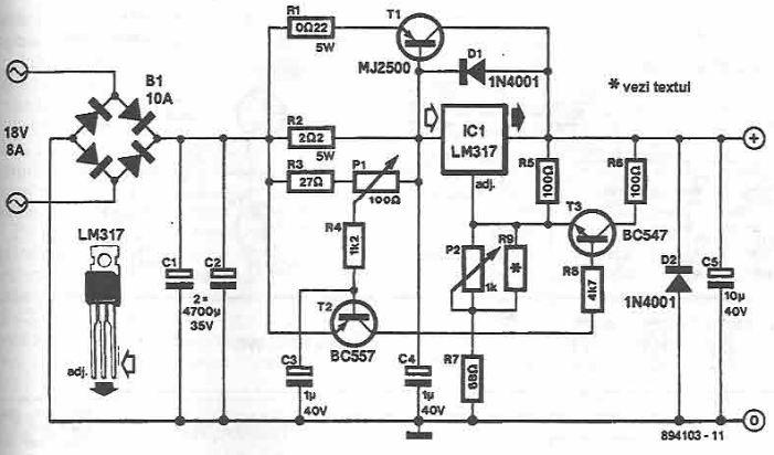 LM317 schema regulator turatie motor de c.c.