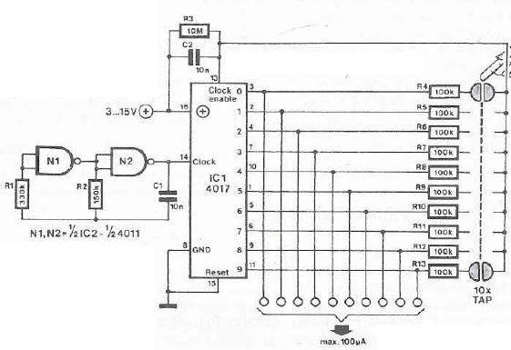 schema electronica Comutator cu senzori de atingere 10 canale