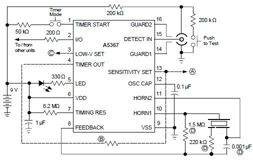 Schema Detector de fum prin ionizare cu A5367