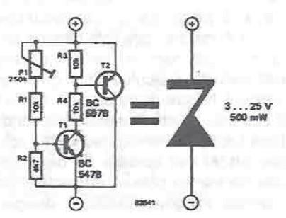 schema electronica Zener cu tensiune variabila