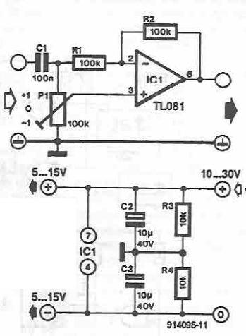 Schema circuit selector de amplificare atenuare cu TL081