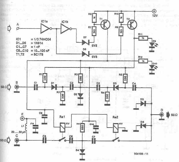 Schema selector de antena cu CMOS