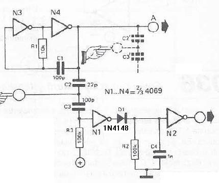 Schema electronica Comutator cu sensor de atingere